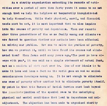 Excerpts from Gertrude Weil's Annual Report as President of the Goldsboro Bureau of Social Service