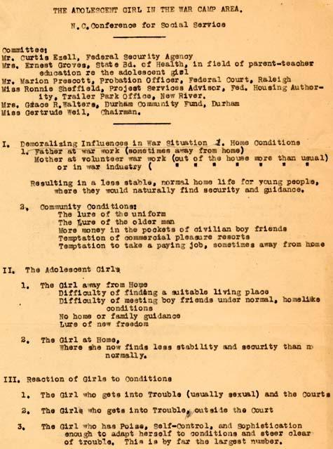 "Program for conference on ""The Adolescent Girl in the War Camp Area"""