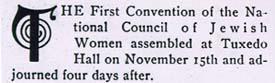 Report of the Convention 'Council of Jewish Women'