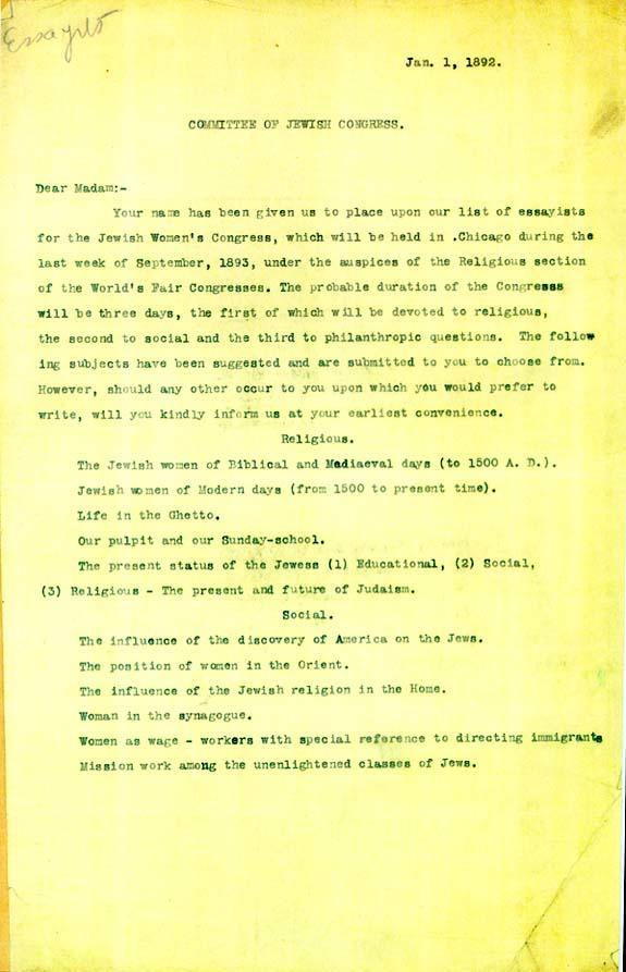 Letter Sent to Potential Speakers for the Jewish Women's Congress