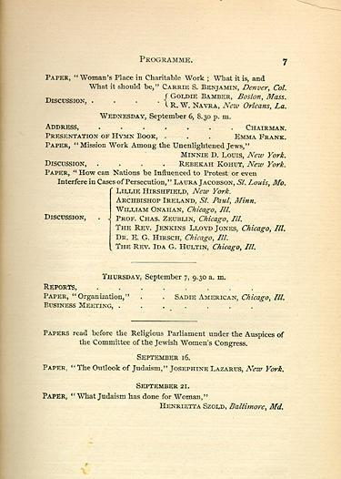 The 1893 Jewish Women's Congress Program of Events. Published, 1894