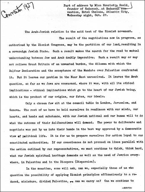 Excerpt from Henrietta Szold's address to 1937 Hadassah Convention focused on Arab-Jewish relations