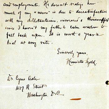 Letter from Henrietta Szold to Cyrus Adler, February 18, 1903