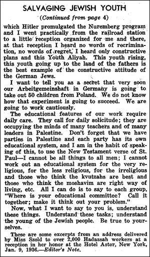 "Salvaging Jewish Youth, Henrietta Szold's report on Youth Aliyah to Hadassah, ""Hadassah News Letter,"" February, 1936"