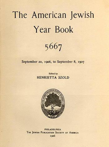 Title page of The American Jewish Year Book, edited by Szold, 1906