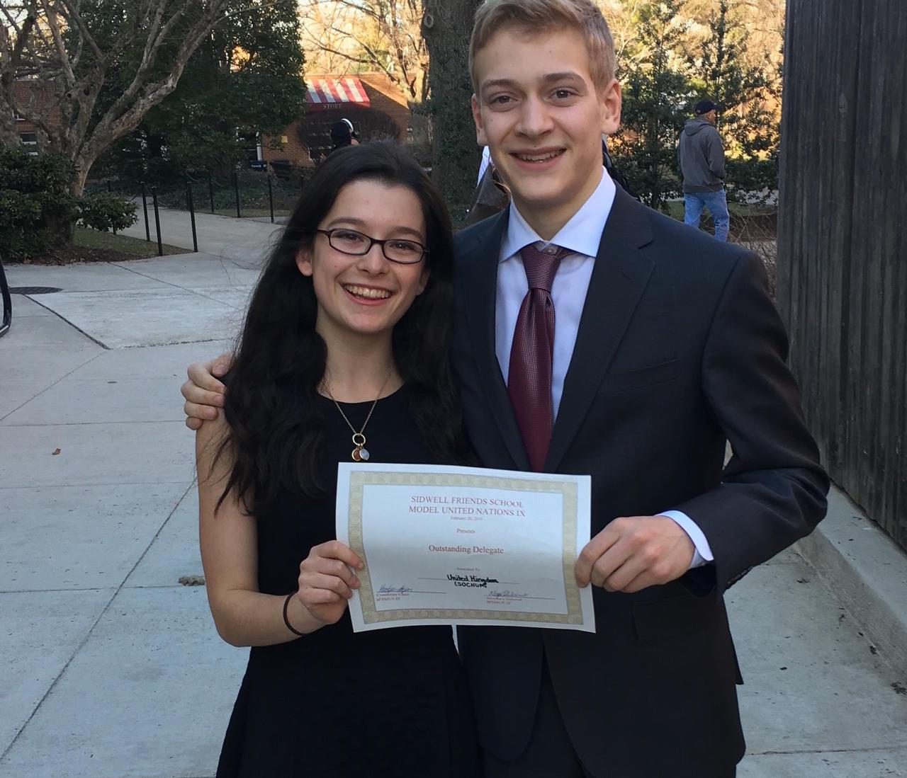 2016-2017 Rising Voices Fellow Isabel Kirsch with her Model UN Partner