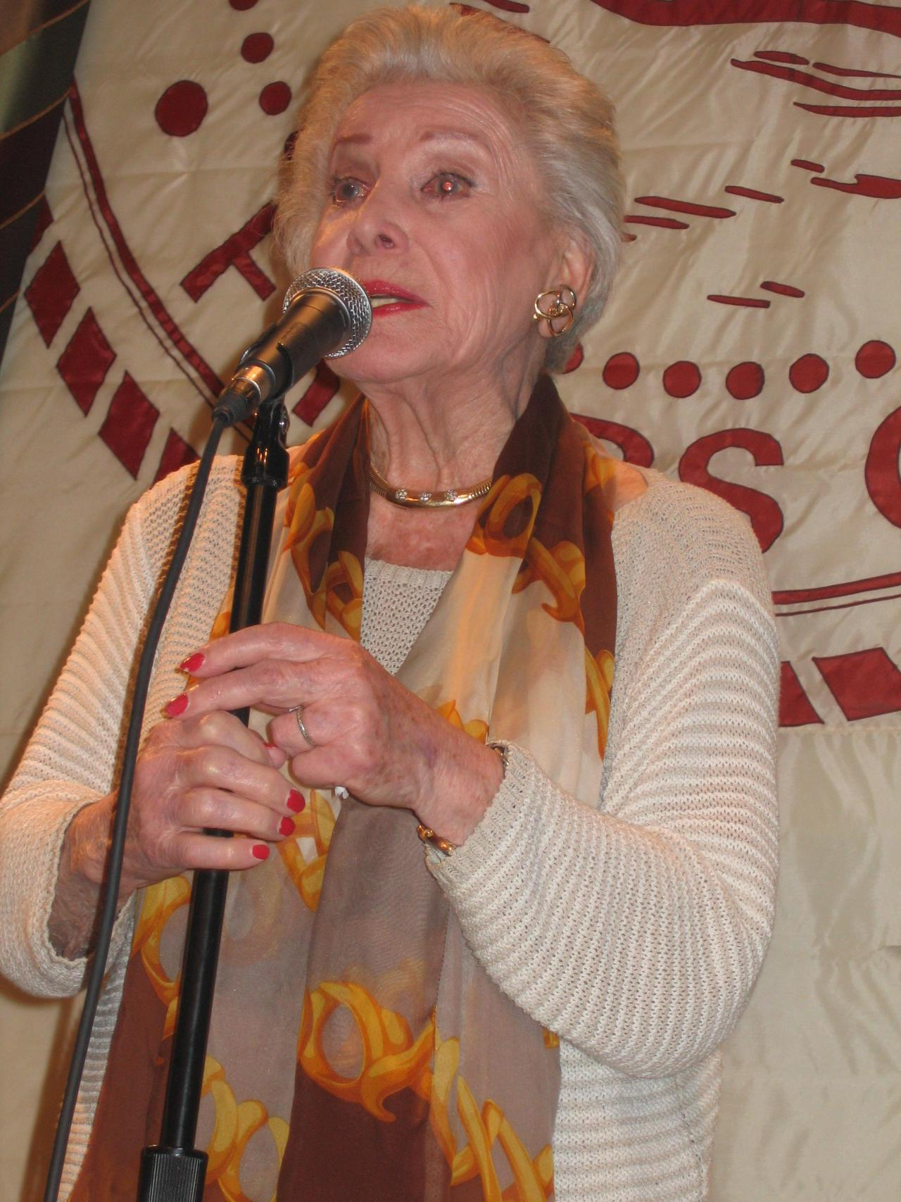 Jean Caroll, speaking at the Friar's Club in NYC, November 2006
