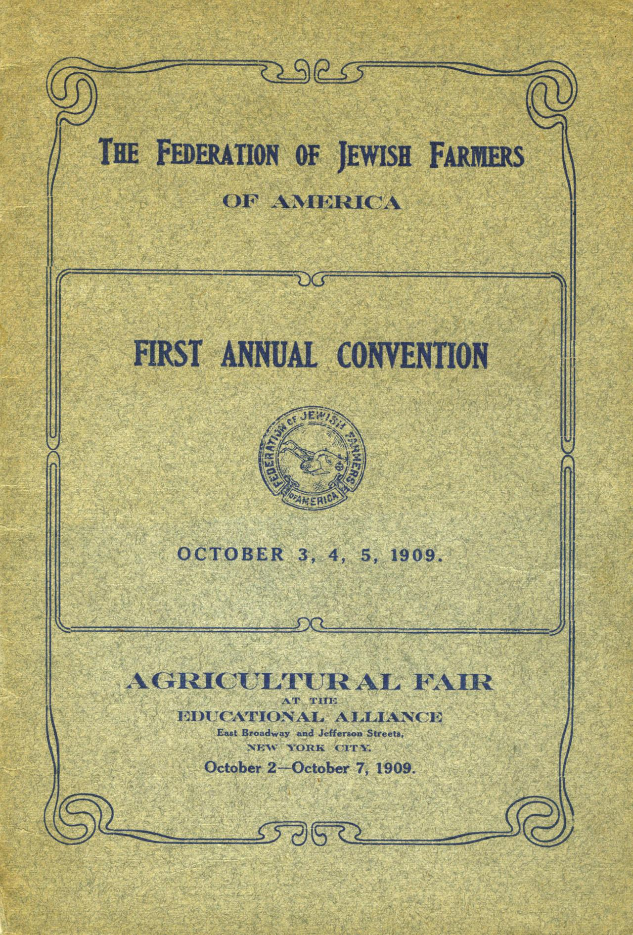 Federation of Jewish Farmers of America Convention Booklet