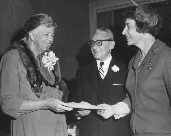 Justine Wise Polier and Eleanor Roosevelt at a Banquet for the Wiltwyck School