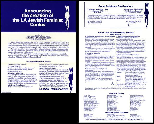 LA Jewish Feminist Center Brochure, 1990