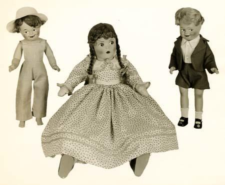 Three marionettes produced by the Alexander Doll Company