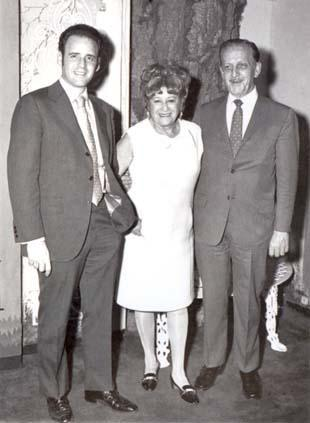 Beatrice Alexander with her grandson, William Birnbaum (left), and son-in-law, Richard Birnbaum (right)