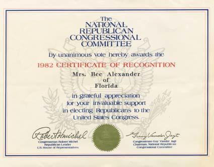 Certificate from National Republican Congressional Committee in appreciation of Beatrice Alexander's support