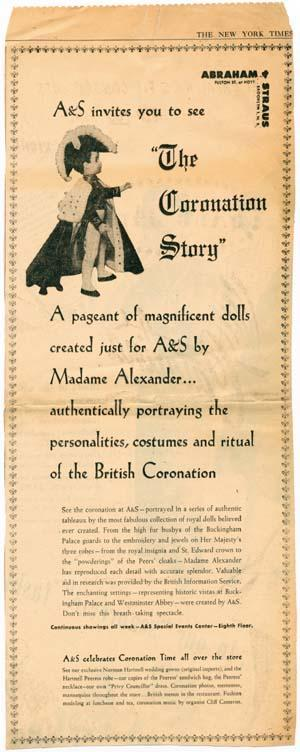 Advertisement for the display of Alexander's set of Coronation dolls at Abraham & Straus, (Sunday News, May 24