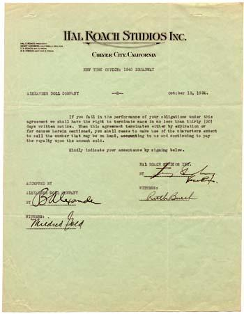 "Contract granting the Alexander Doll Company permission to sell dolls and puppets of the Hal Roach Studios' ""Our Gang"" characters"