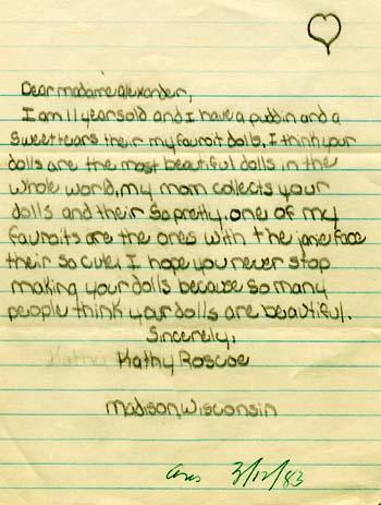 Letter from eleven-year-old fan Kathy Roscoe to Madame Alexander