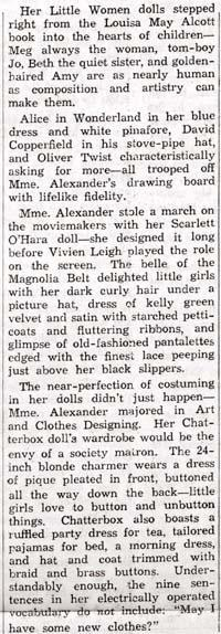 Newspaper article discussing Alexander's achievements as a dollmaker