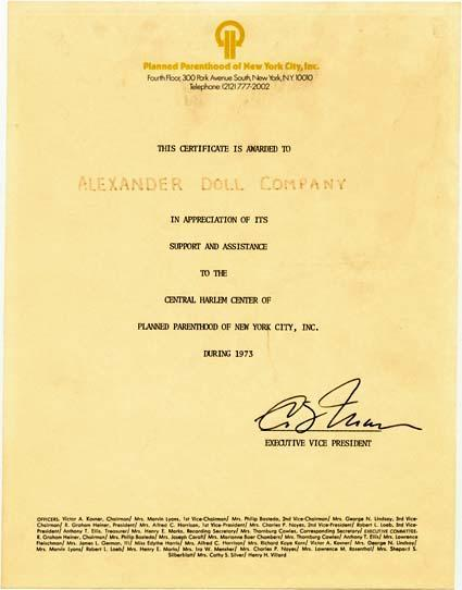 Certificate From the Central Harlem Center of Planned Parenthood of New York City, Inc., in Appreciation of Beatrice Alexander's Support, 1973