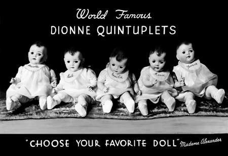 Dionne Quintuplet Dolls Advertisement, 1936