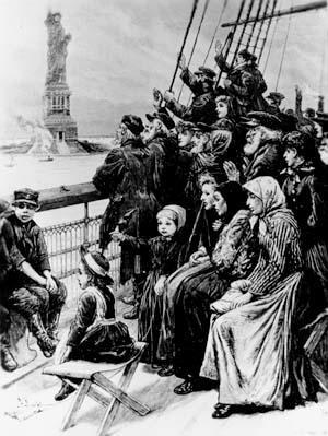 Engraving of immigrants arriving on a ship