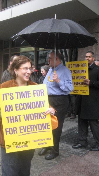 Marilyn Sneiderman organizing with labor sign