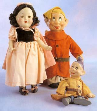 Snow White and Dopey dolls produced by the Alexander Doll Company, 1938, and Dopey marionette produced by Tony Sarg, c. 1936