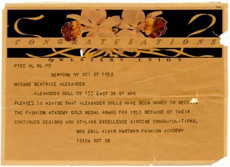 Telegram and letter from Mrs. Emil Alvin Hartman to Madame Beatrice Alexander