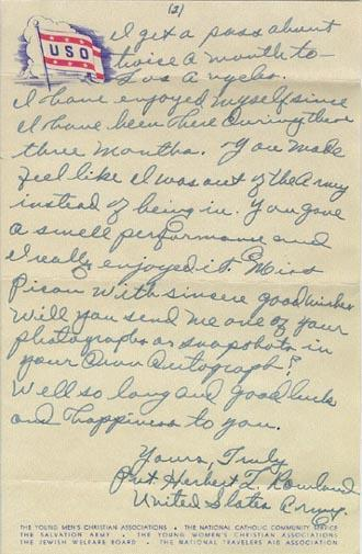 Fan mail from Private Herbert Rowland. September 12