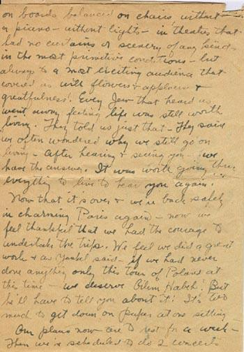 A Letter from Molly Picon to her Mother from Paris, August 23