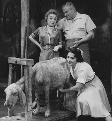 Molly Picon with Robert Weede, Mimi Bezell, and Goat in Milk and Honey