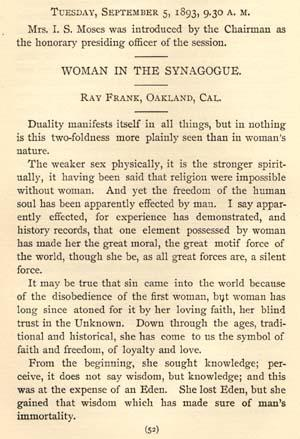 "Excerpt from Ray Frank's paper, ""Woman in the Synagogue,"" given at the Jewish Women's Congress"