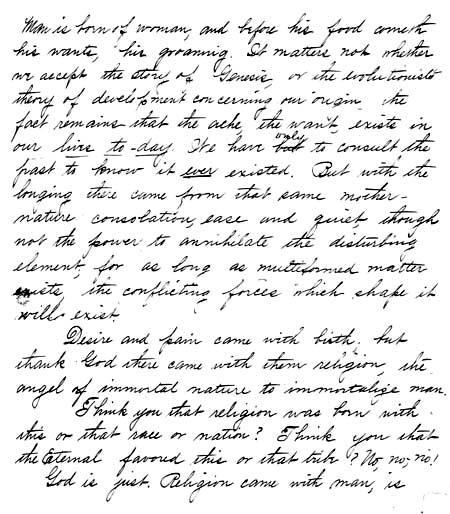 Excerpt of Sermon Manuscript by Ray Frank