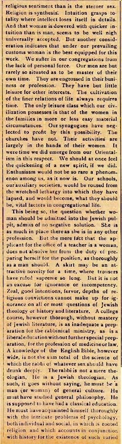 Editorial on Woman on the Pulpit