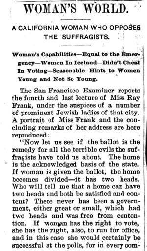 Article about Ray Frank's opposition to suffrage