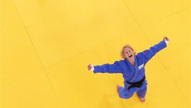 Judo-Rosalba Forciniti of Italy celebrates winning a Judo bronze against Marie Muller of Luxembourg