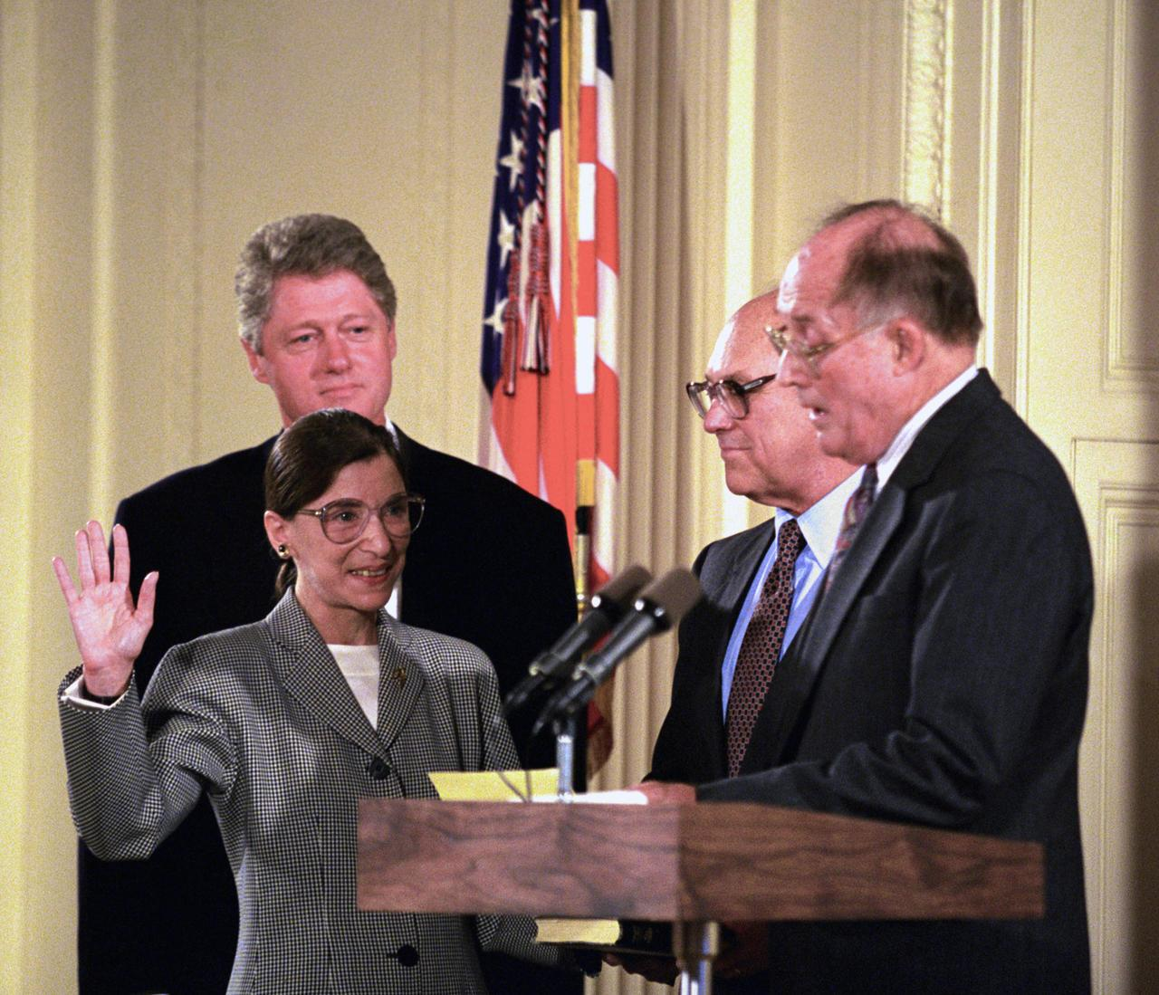 Photograph of Ruth Bader Ginsburg being sworn in to the Supreme Court of the United States