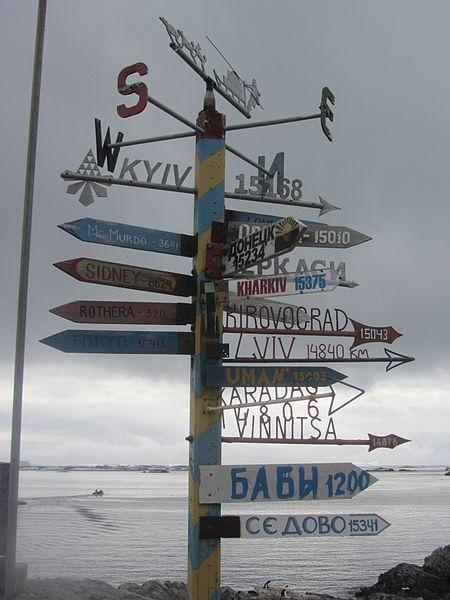 Signpost at Vernadsky Station