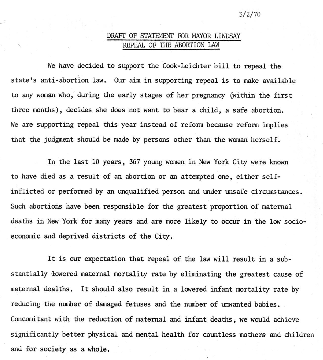 Draft of Statement by Joyce (de Terra) Antler for Mayor Lindsay, March 2, 1970