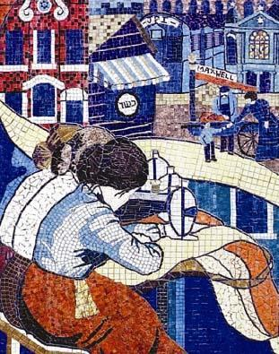"Chicago Women's Labor Mosaic, ""Fabric of Our Lives"" by Miriam Socoloff and Cynthia Weiss, 1980"