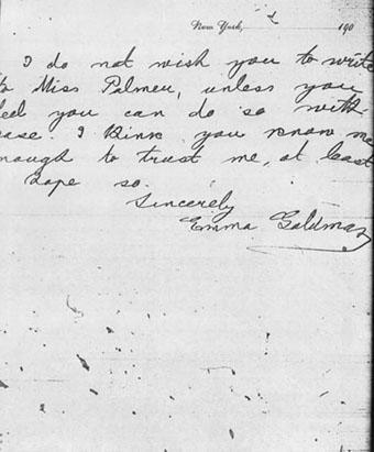 Letter from Emma Goldman to Lillian Wald