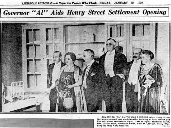 """Governor 'Al' Aids Henry Street Settlement Opening,"" January 12, 1923"
