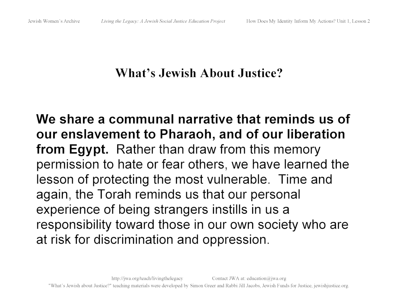 """What's Jewish About Justice?"" signs: We share a communal narrative"