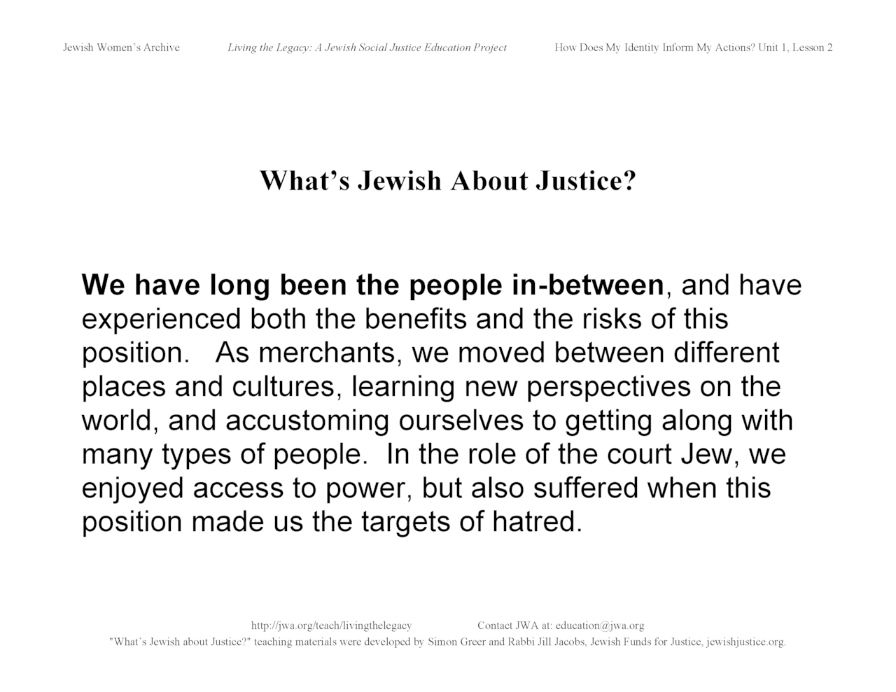 """What's Jewish About Justice?"" signs: We have long been the people in-between"