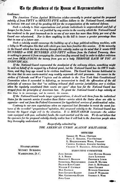 Letter to the Members of the House of Representatives from Lillian Wald, Chair of the American Union Against Militarism