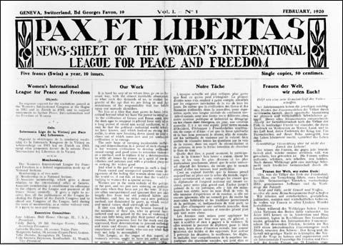 News-Sheet of the Women's International League for Peace and Freedom Geneva, Switzerland