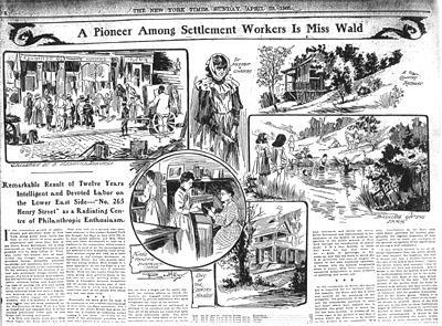 """A Pioneer Among Settlement Workers Is Miss Wald"" from the New York Times, April 23, 1905"