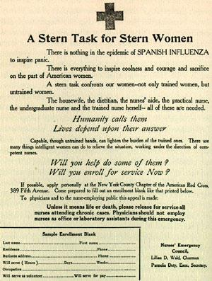 A Stern Task For Stern Women - Handbill Drawn-up to Garner Support for a Community Response to the Influenza Epidemic