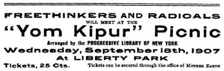 "Advertisement for ""'Yom Kipur' Picnic"" organized by Goldman and her colleagues"