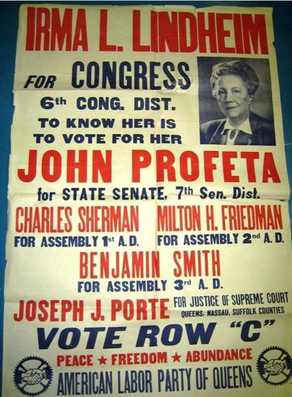 Irma Lindheim for Congress Poster