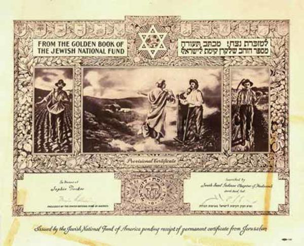 Sophie Tucker's Provisional Certificate of Honor from the Jewish National Fund of America